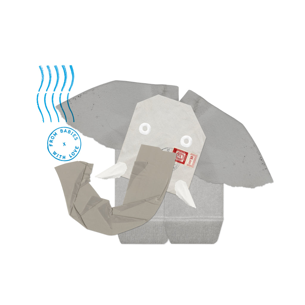 From Babies with Love Elephant Greetings Card Made From Recycled Card