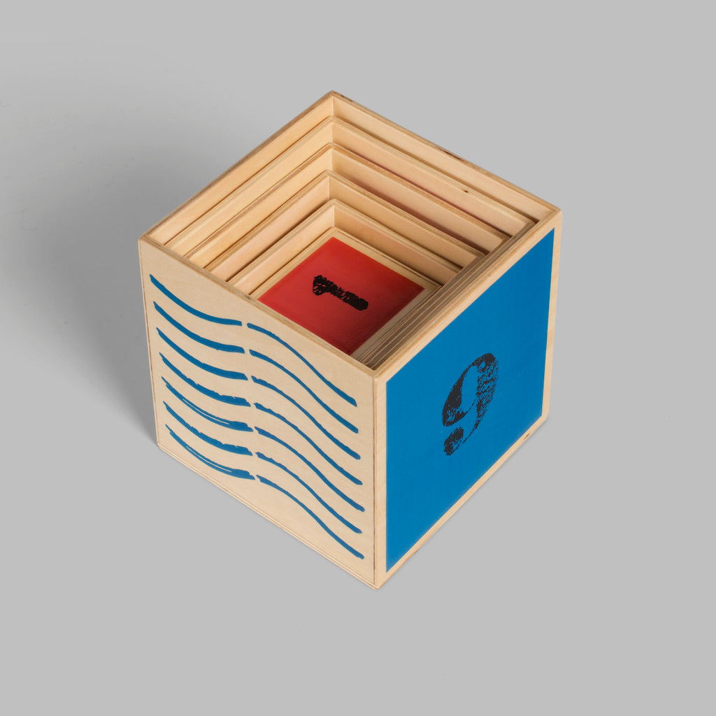 Nautical Nesting Cubes Traditional Wooden Toy Perfect For a First Birthday Gift. Profits Support Orphans Around the World.