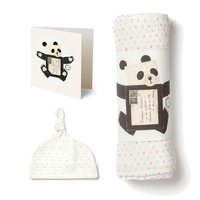 First Kisses organic knot hat and muslin swaddle gift set