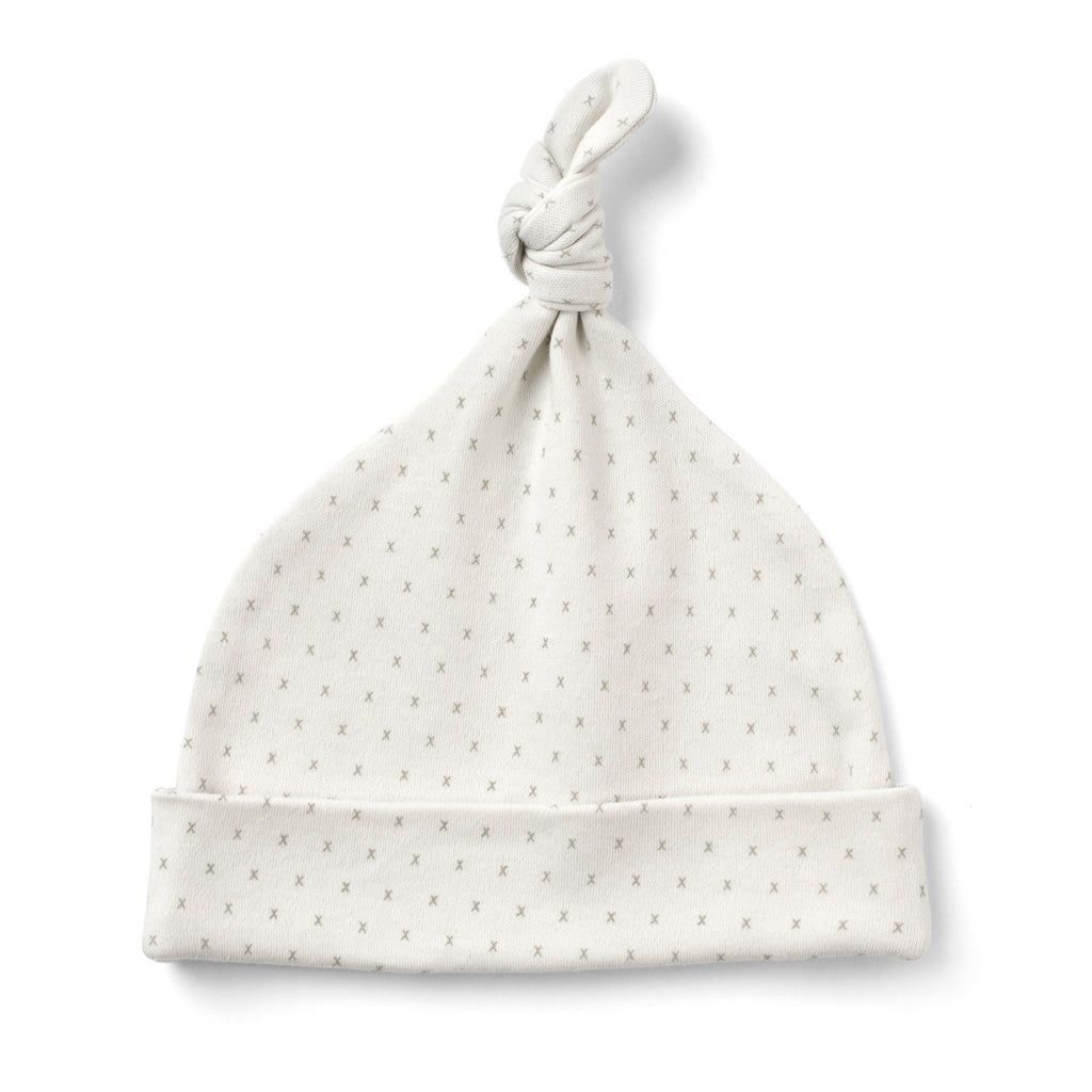 French Grey Baby Knot Hat Made From 100% Organic Cotton. Free Drawstring Gift Bag and Greetings Card with All Profits To Abandoned Children.