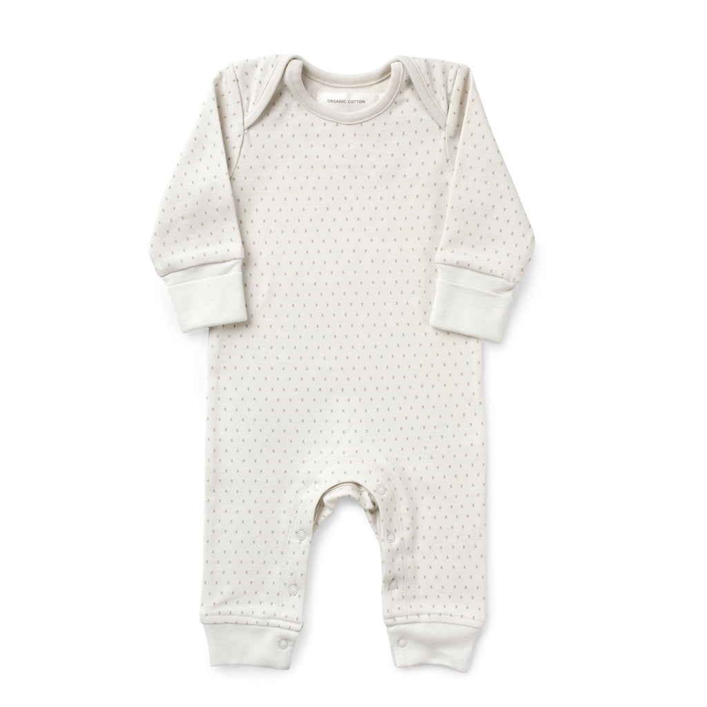 French Grey Kisses Baby Grow with poppers along legs. Made From 100% Organic Cotton. Product Image on White Background