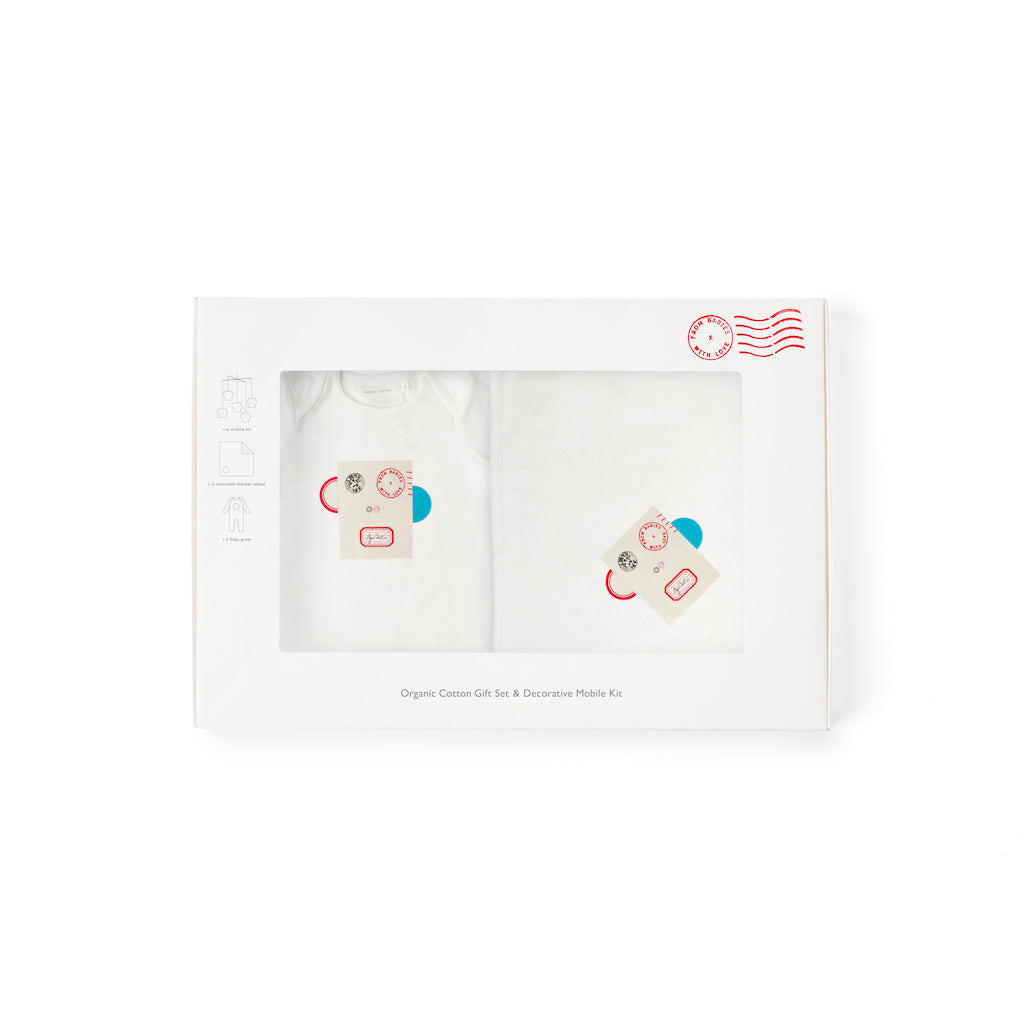 Baby Shower Gift Set: Monkey Organic Babygrow, Blanket, and Decorative Mobile Kit, plus Free Greetings Card & All Profits to Abandoned Babies