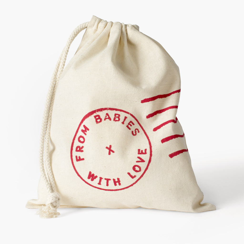 Gift bag - Little Kisses Knot Hat and Muslin Swaddle Made From 100% Organic Cotton. Free Drawstring Gift Bag and Greetings Card with All Profits To Abandoned Children.