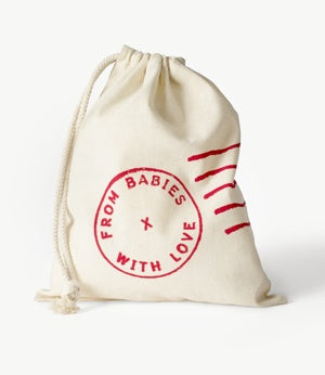 Gift bag - The Duck character on this charming organic baby grow is designed using vintage postal materials.