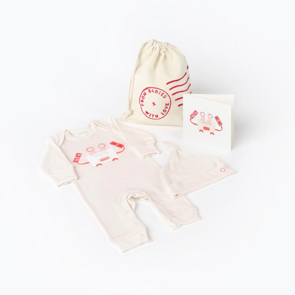 Crab Gift Set Made From 100% Organic Cotton. Free Drawstring Gift Bag and Greetings Card with All Profits To Abandoned Children.