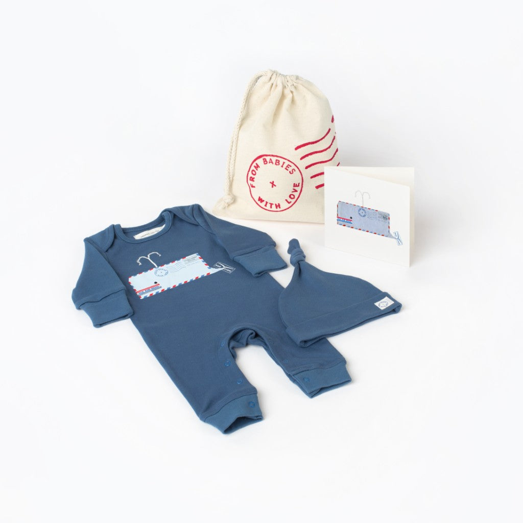 Whale Gift Set Made From 100% Organic Cotton. Free Drawstring Gift Bag and Greetings Card with All Profits To Abandoned Children.
