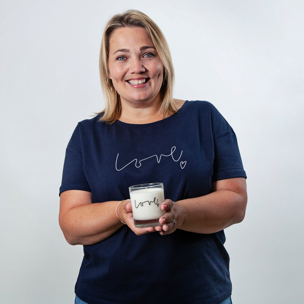 Love organic t-shirt and luxury Orange Blossom candle gift set