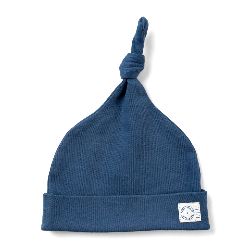 Marine Blue organic knot hat - From Babies with Love 100% of Profit to Vulnerable Children