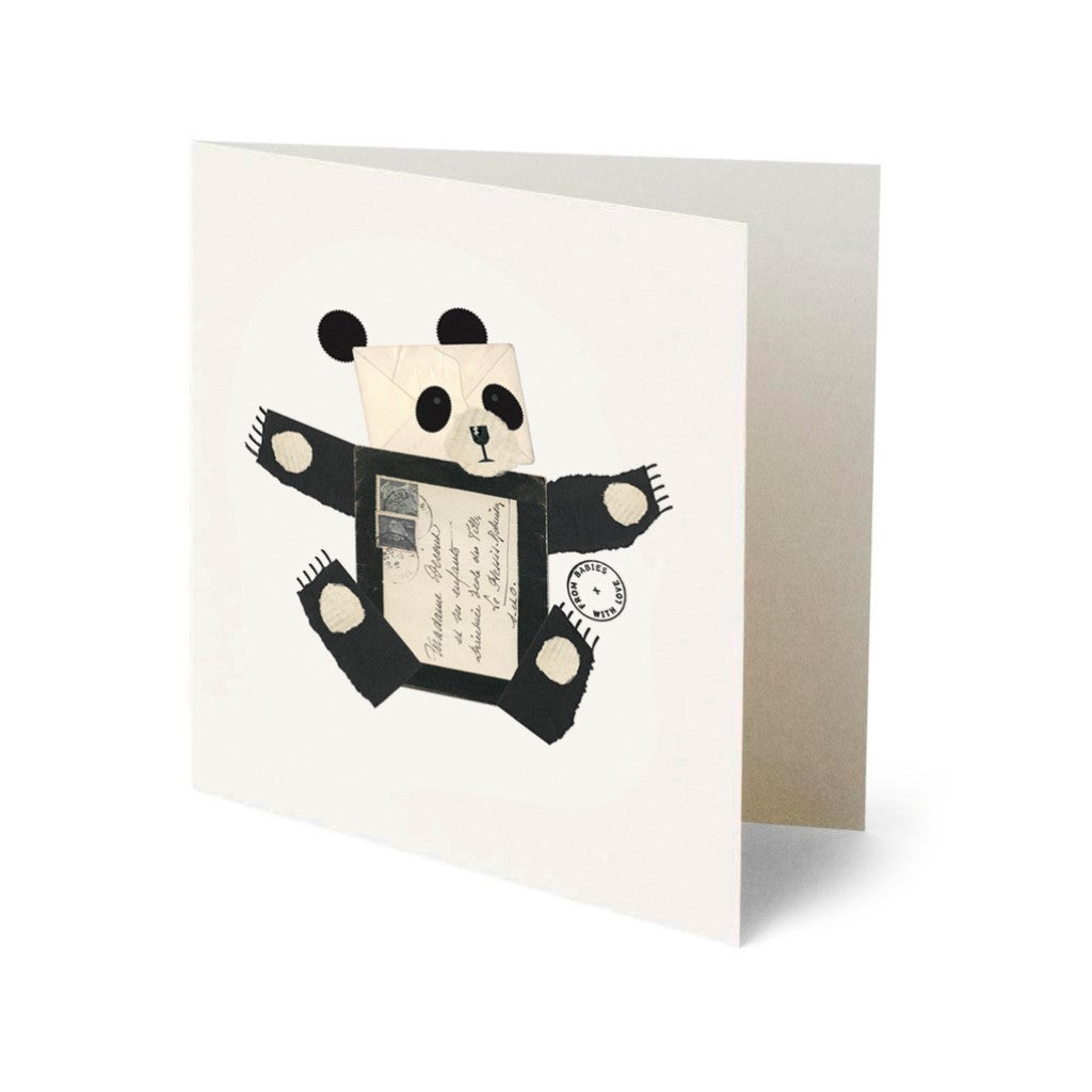 From Babies with Love Panda Greetings Card Made From Recycled Card