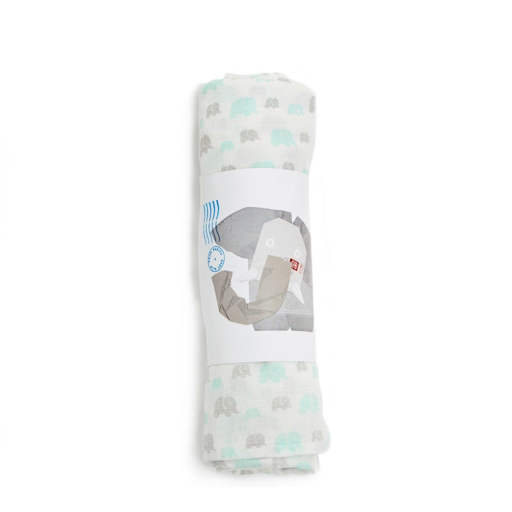 Susie J Verrill x From Babies with Love Grey Muslin Swaddle Made From 100% Organic Cotton. Free Drawstring Gift Bag and Greetings Card with All Profits To Abandoned Children.