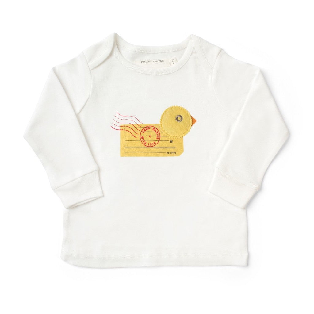 Duck T-Shirt Made From 100% Organic Cotton. Free Drawstring Gift Bag and Greetings Card with All Profits To Abandoned Children.