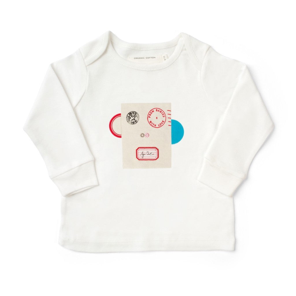 Monkey White Baby T-Shirt Made From 100% Organic Cotton. Free Drawstring Gift Bag and Greetings Card with All Profits To Abandoned Children.