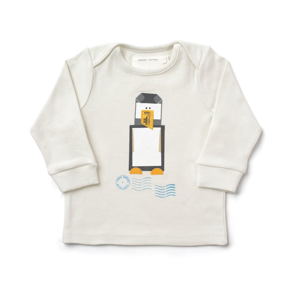 Penguin French Grey T-Shirt Made From 100% Organic Cotton. Free Drawstring Gift Bag and Greetings Card with All Profits To Abandoned Children.