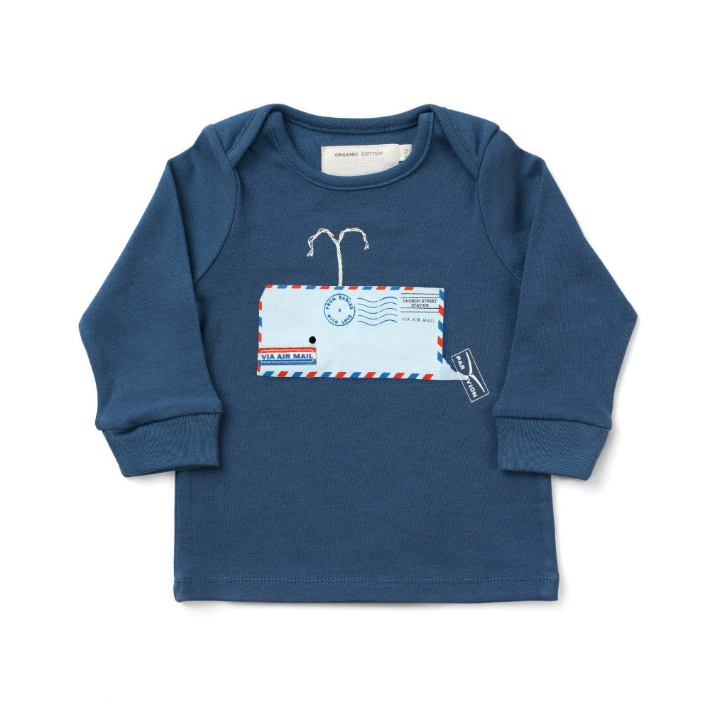 Whale Blue T-Shirt Made From 100% Organic Cotton. Free Drawstring Gift Bag and Greetings Card with All Profits To Abandoned Children.