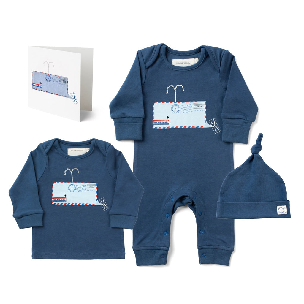 Whale Large Gift Set Made From 100% Organic Cotton. Free Drawstring Gift Bag and Greetings Card with All Profits To Abandoned Children.
