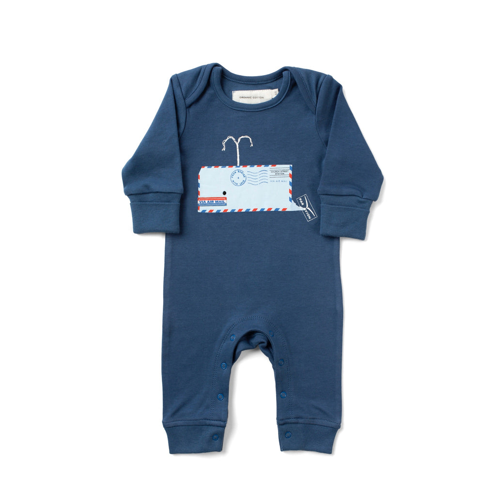 Whale Marine Blue Baby Grow Made From 100% Organic Cotton. Free Drawstring Gift Bag and Greetings Card with All Profits To Abandoned Children.