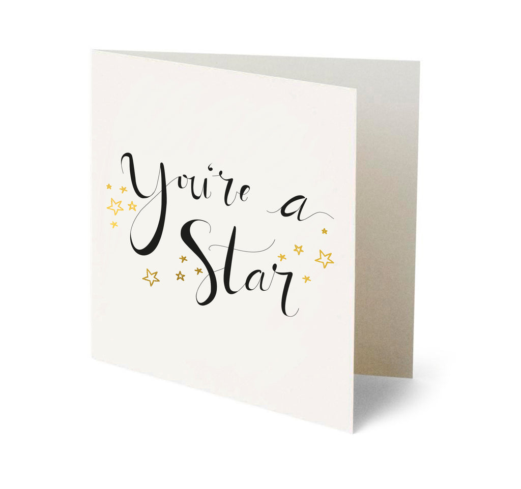 You're a Star organic and Fairtrade dark chocolate raspberry stars and matching greetings card