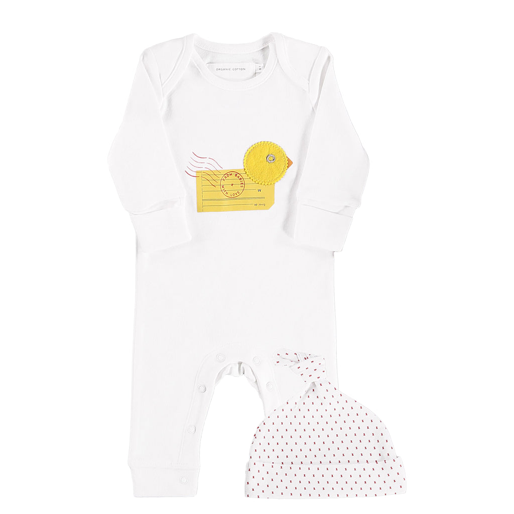 Baby grow and hat - The Duck character on this charming organic baby grow is designed using vintage postal materials.