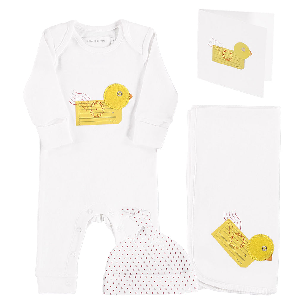 Duck organic baby grow, swaddling blanket and knot hat gift set