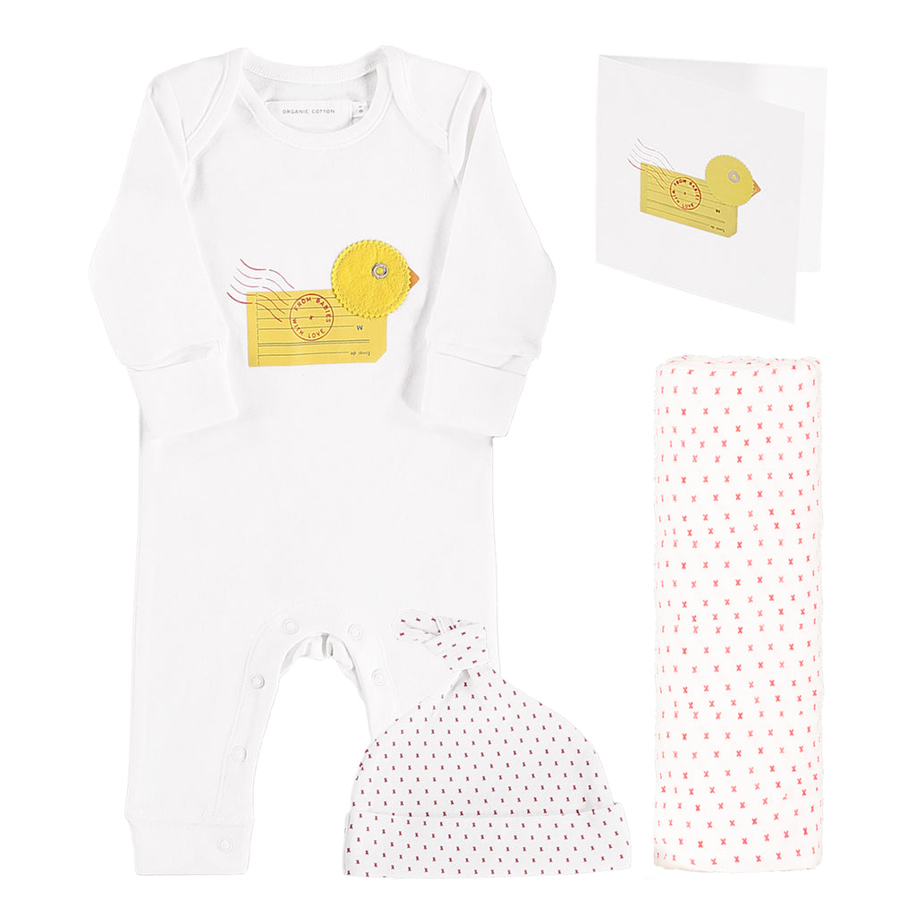 Duck organic baby grown, muslin swaddling wrap and knot hat gift set