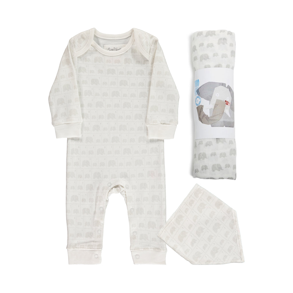 Susie J Verrill x From Babies with Love Elephant Family baby grow bandana bib and muslin set