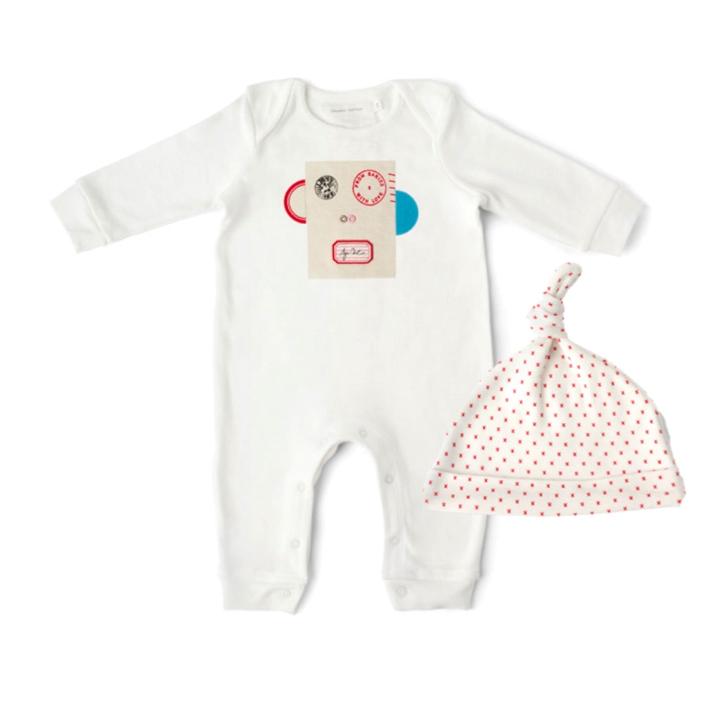 77bed277158 Penguin and French Grey Kisses Baby Grow and Knot Hat Gift Set. With  Complementary Greetings