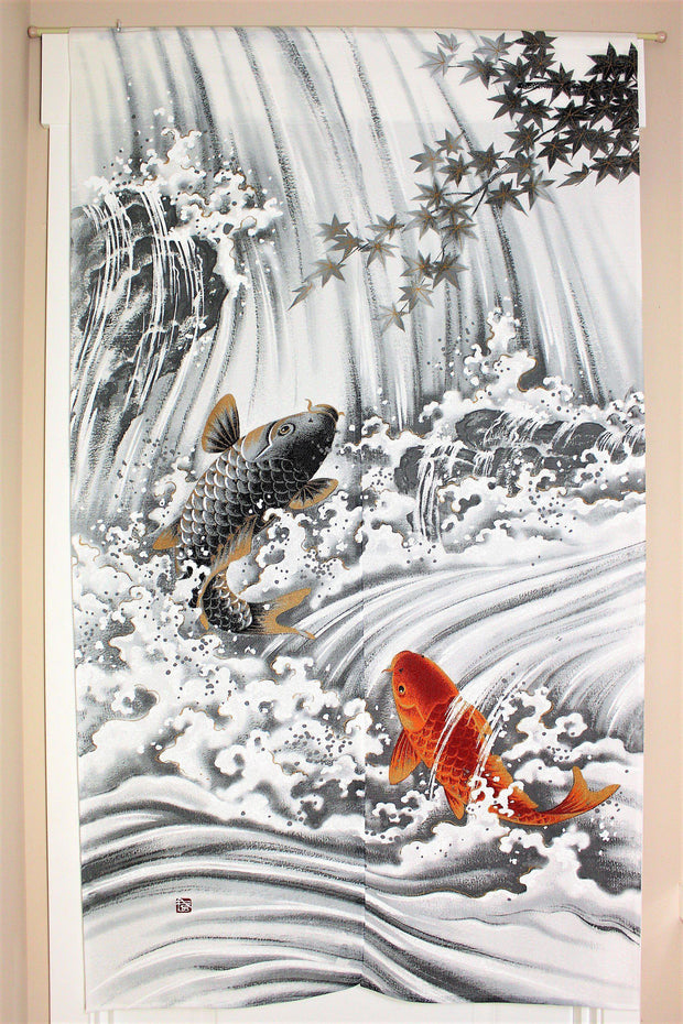 Japanese Noren Curtain with light fabric - Waterfall climbing carp - Hasu-Seizo - 蓮清蔵 Hasu-Seizo