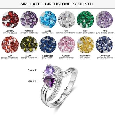 Personalized initial ring with 2 heart shaped birthstones for her