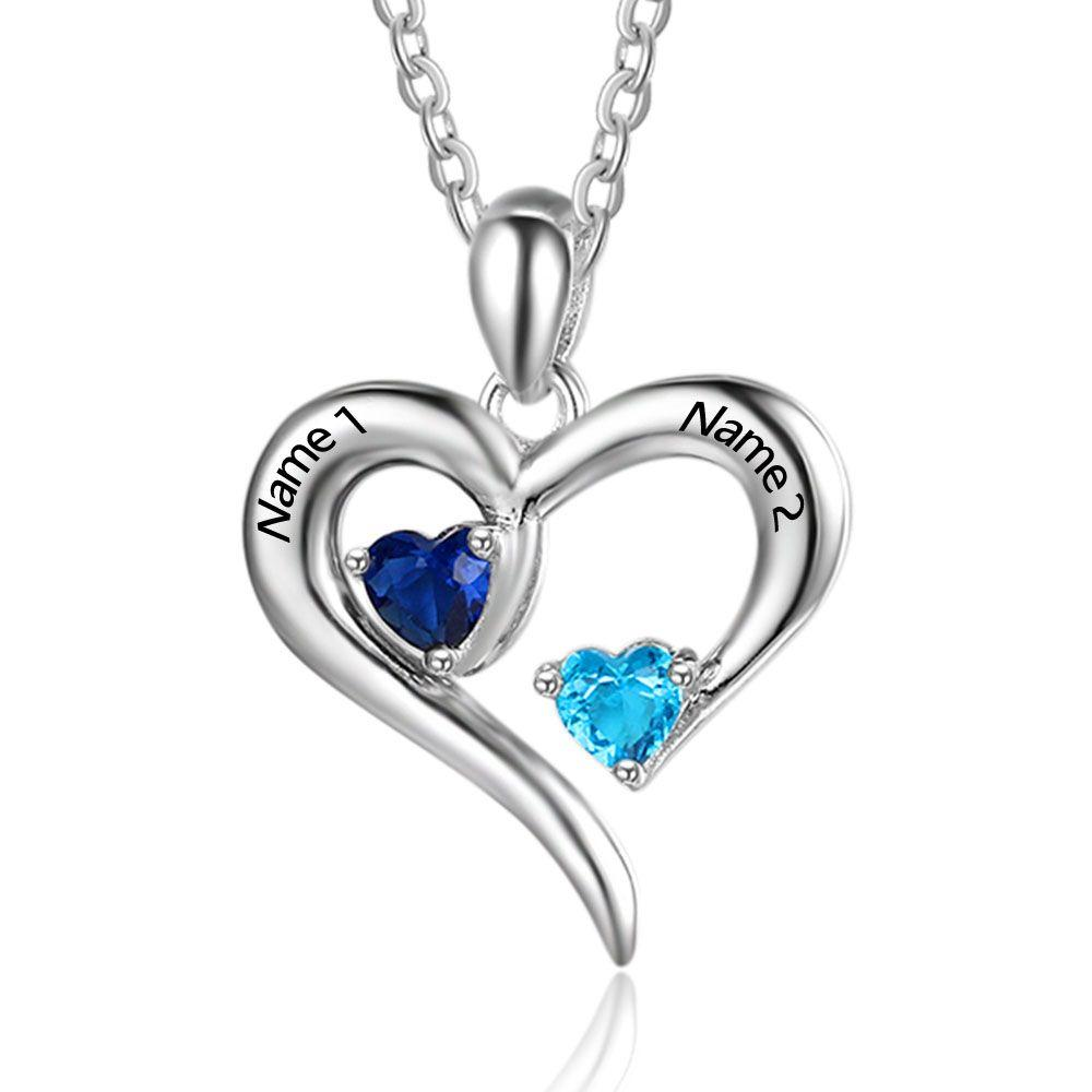 e6d056fc28dc4 Sterling Silver Birthstone personalized necklace with heart