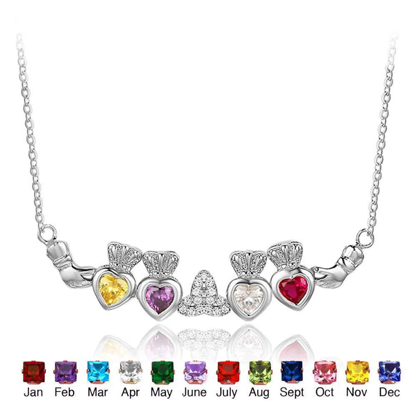 claddagh pendant with 4 birthstones