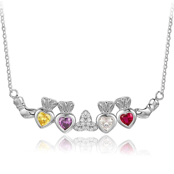 claddagh necklace with 4 birthstones