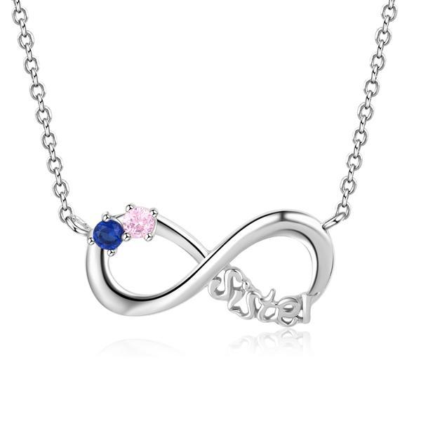 silver infinity necklace with 2 birthstones