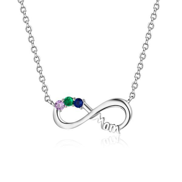 infinity necklace with 3 birthstones