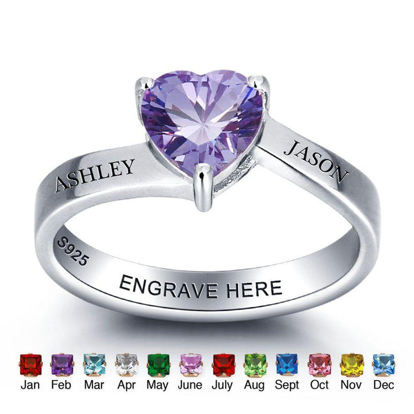 heart shaped birthstone ring in sterling silver