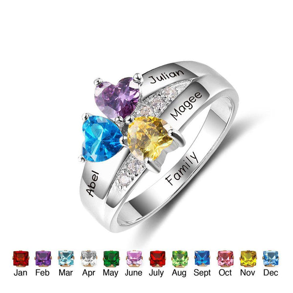 mothers ring with 3 birthstones