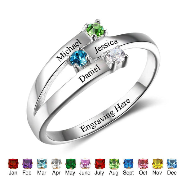 personalized ring with 3 birthstones