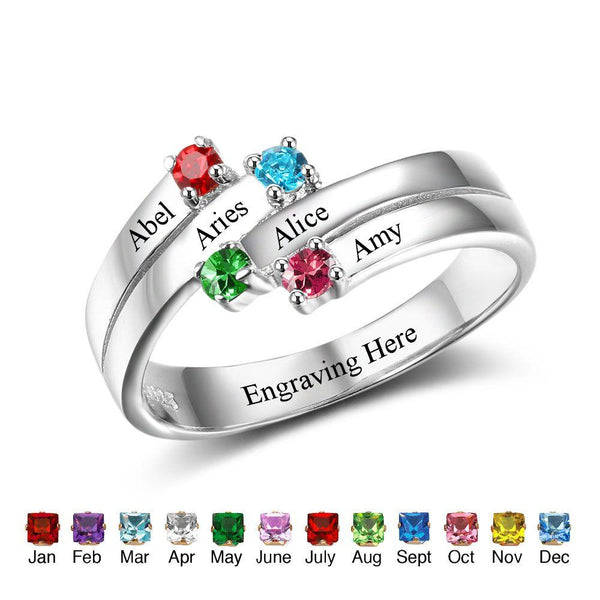 mothers ring with 4 child birthstones