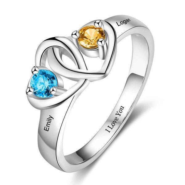 heart shaped ring with 2 birthstones