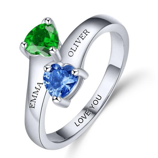 dual birthstone ring for her
