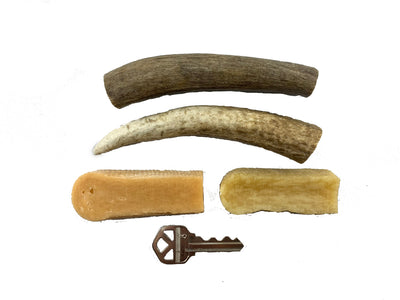 Small Dog Party Pack - 2 Extra Small Whole Antlers and 2 Small Himalayan Chews - Devil Dog Pet Co