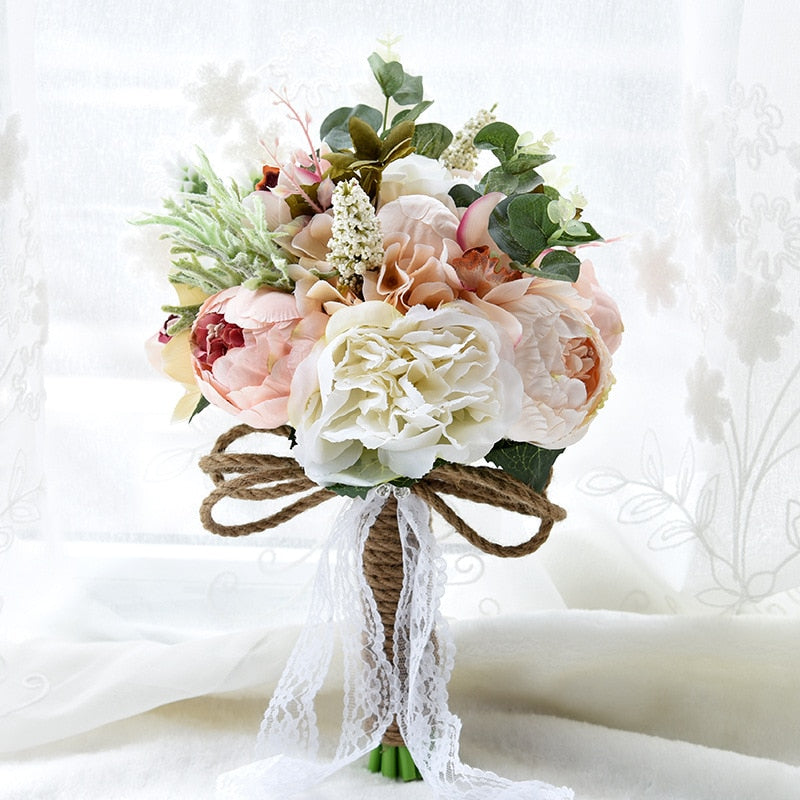 Artificial Flower Wedding Gift 2019 European and American Outdoor Style Bridal Bouquet Birthday Wedding Burgundy Wedding Flowers - Rumor Flowers