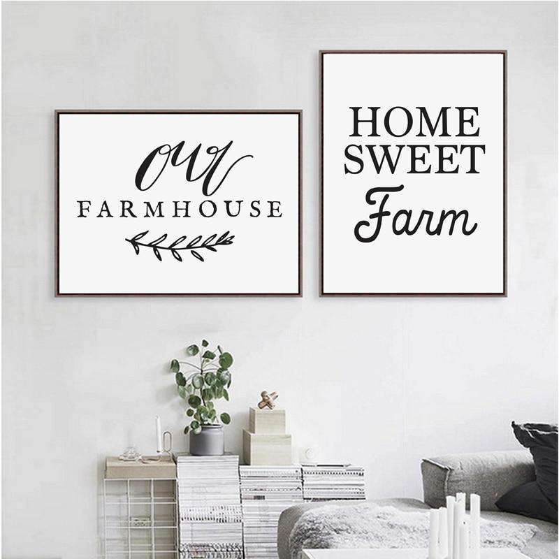 Home Sweet Farm Calligraphy Canvas Art Print , Our Farmhouse Art Print Canvas Painting Country Farm Kitchen Decor - Rumor Flowers