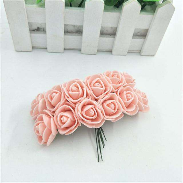 Artificial Fake Flowers Foam Artificial Roses 9 Heads Bridal Wedding Bouquet for Home Garden Party Wedding Decoration - Rumor Flowers