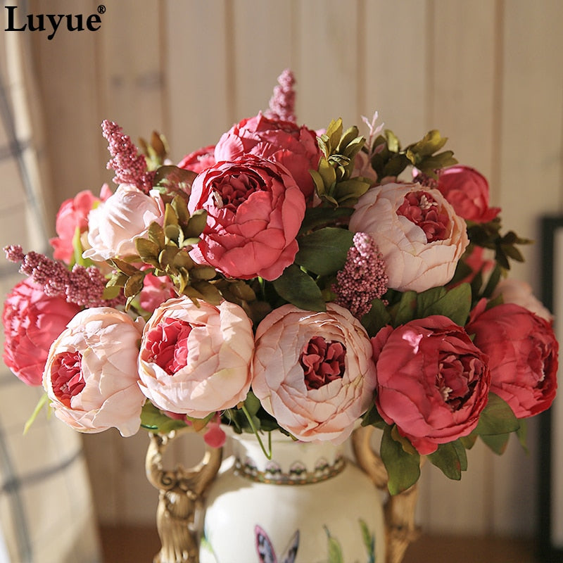 Luyue 13 Branch/Bouquet Artificial flowers Peony Vivid flores artificiales Fake Silk Rose Bridal Wedding decor wreath gland home - Rumor Flowers