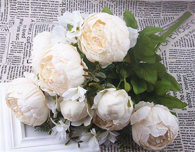 Artificial Peony Bouquet / Silk Peonies Bunch / Pink Wedding Flowers - Rumor Flowers