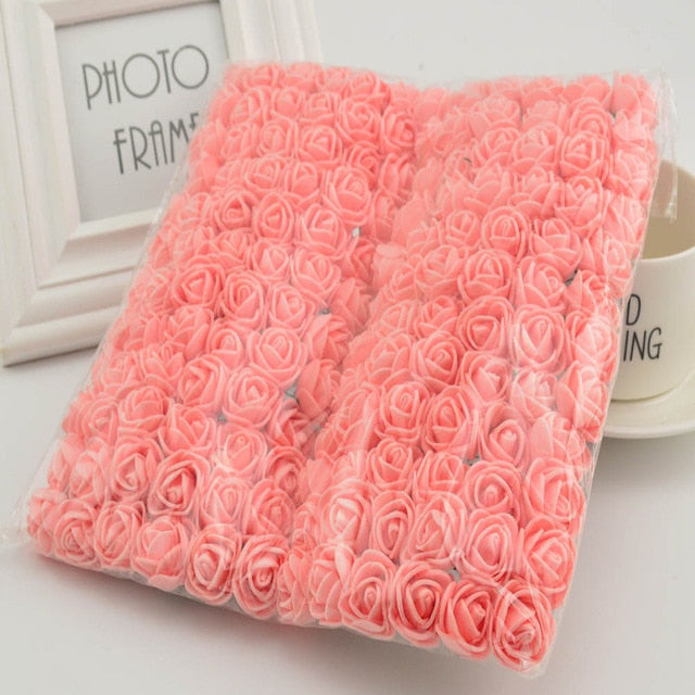 144pcs 2cm MINI foam roses for home Wedding fake Flower Decora Scrapbooking diy wreath gift box cheap Artificial Flower Bouquet - Rumor Flowers