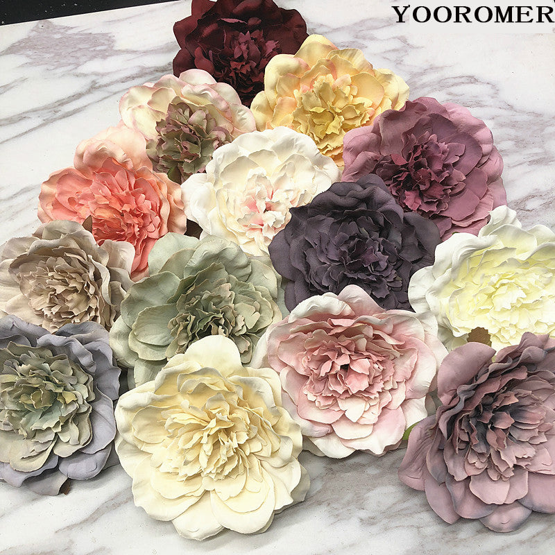 YOOROMER 5PCS Peony Flower Heads Decorative Scrapbooking Artificial Flower For Home Wedding Birthday Party Decoration Supplies - Rumor Flowers