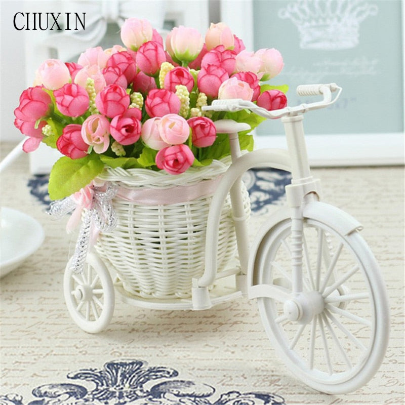 Rattan Bike Vase with Silk flowers / Mini Rose flower Bouquet / Wedding Decoration - Rumor Flowers