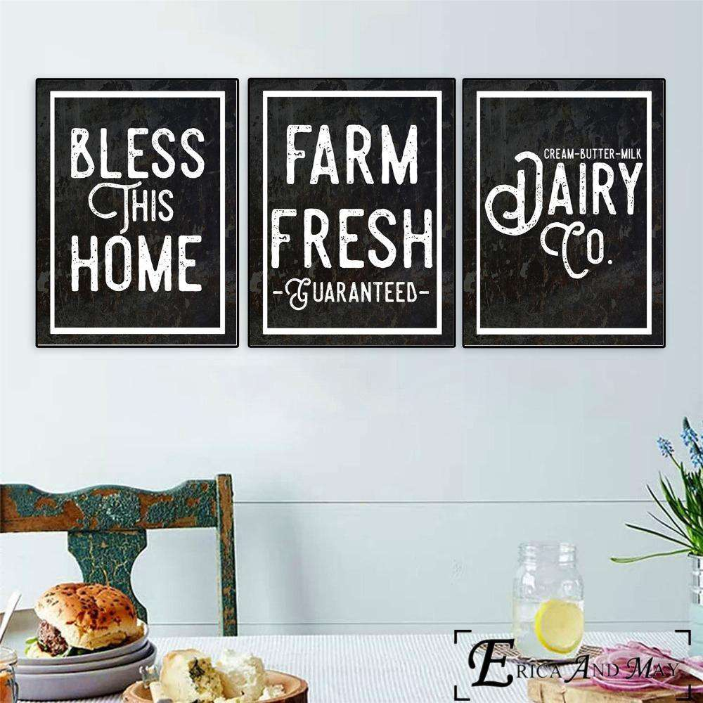 Kitchen Farmhouse Printables Quote Canvas Painting Posters And Prints For Living Room No Framed Wall Art Picture Home Decor - Rumor Flowers