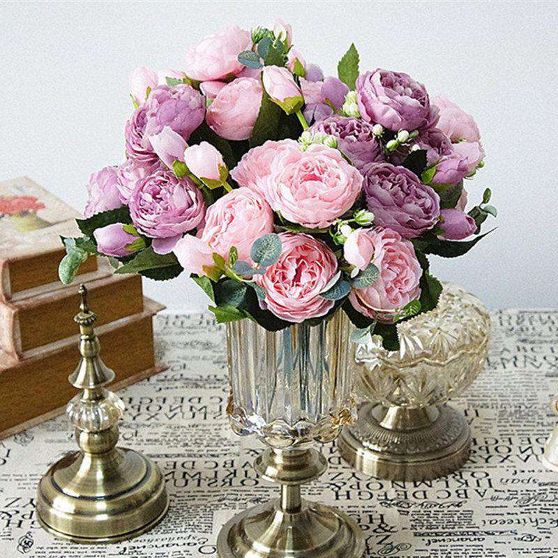 Mini Beautiful Rose Peony Artificial Silk Flowers Small Bouquet Flores Home Party Spring Wedding Decoration Marriage Fake Flower - Rumor Flowers